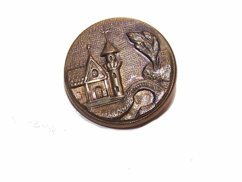 Interesting VICTORIAN Metal Button - Medieval Castle Scene!