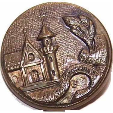 Interesting VICTORIAN Metal Button - Medieval Castle Scene!