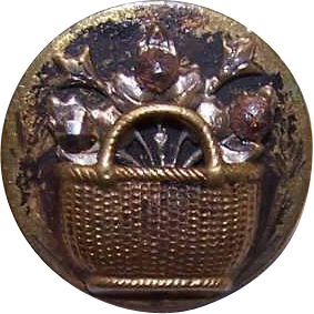 Sweet VICTORIAN Metal Button - A Basket of Flowers!