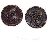 Set/2 EDWARDIAN Metal Buttons - Leaves!