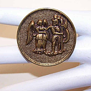 Interesting VICTORIAN Metal Button - An Angel & A Knight!