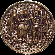 Interesting VICTORIAN Metal Button - An Angel & A Knight!
