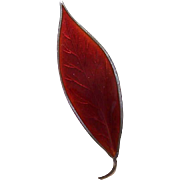 David Andersen, Norway, STERLING SILVER & Red Enamel Leaf Pin/Brooch!