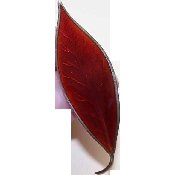 David Andersen, Norway, STERLING SILVER & Red Enamel Leaf Pin/Brooch!