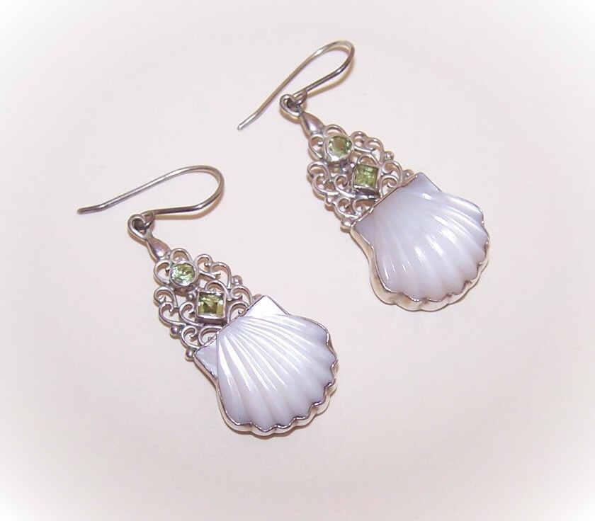 Vintage STERLING SILVER, Carved Mother of Pearl & Peridot Drop Earrings!