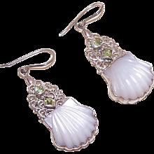 Vintage STERLING SILVER Earrings - Mother of Pearl, Peridot, Drop Earrings - Red Tag Sale Item