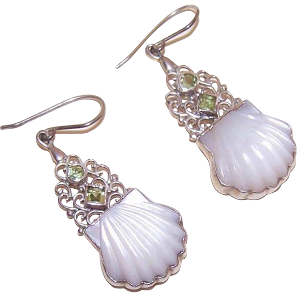 Vintage STERLING SILVER, Carved Mother of Pearl & Peridot Drop Earrings!