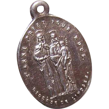 C.1900 FRENCH SILVERPLATE Religious Medal/Charm - Saint Anne, Virgin Mary & Infant Jesus!