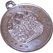 Antique Edwardian FRENCH SILVERPLATE Religious Medal - Souvenir de Confirmation!