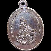 C.1900 FRENCH SILVERPLATE Religious Medal/Charm - Virgin & Child/Notre Dame de Lorette!