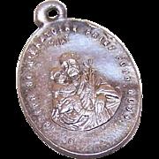 C.1900 FRENCH SILVERPLATE Religious Medal - Saint Joseph & the Infant Jesus!