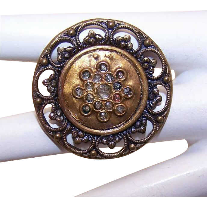 ANTIQUE VICTORIAN Metal Button - Round Filigree with White Rhinestones!
