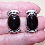 1980s MEXICAN Sterling Silver & Black Onyx Pierced Earrings!