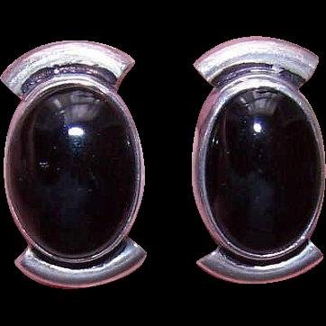 1980s MEXICAN Sterling Silver & Black Onyx Pierced Earrings!