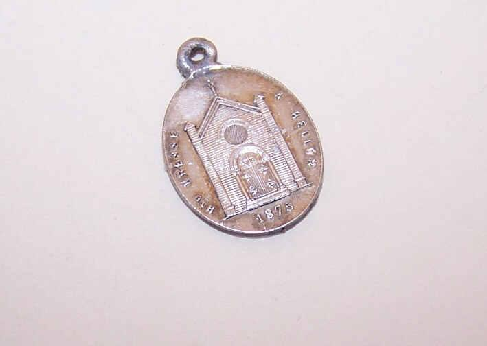 Dated 1875 FRENCH SILVERPLATE Religious Medal/Charm - Notre Dame de Prompt-Secours!
