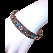 C.1950 ITALIAN Silver Tone Metal & Blue Glass Cab Bracelet!