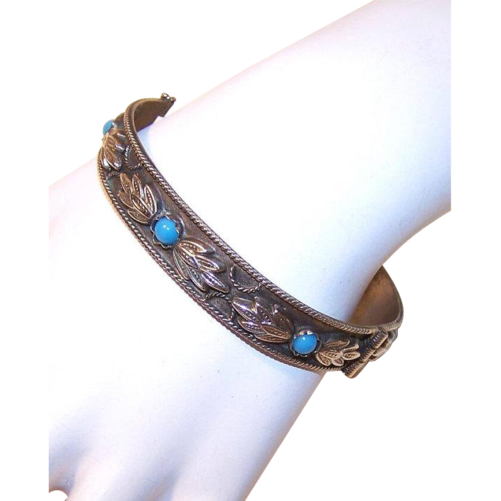 Vintage Silverplate Bracelet - Hinged, Bangle, Italian, Blue Glass, Leaf, Decoration