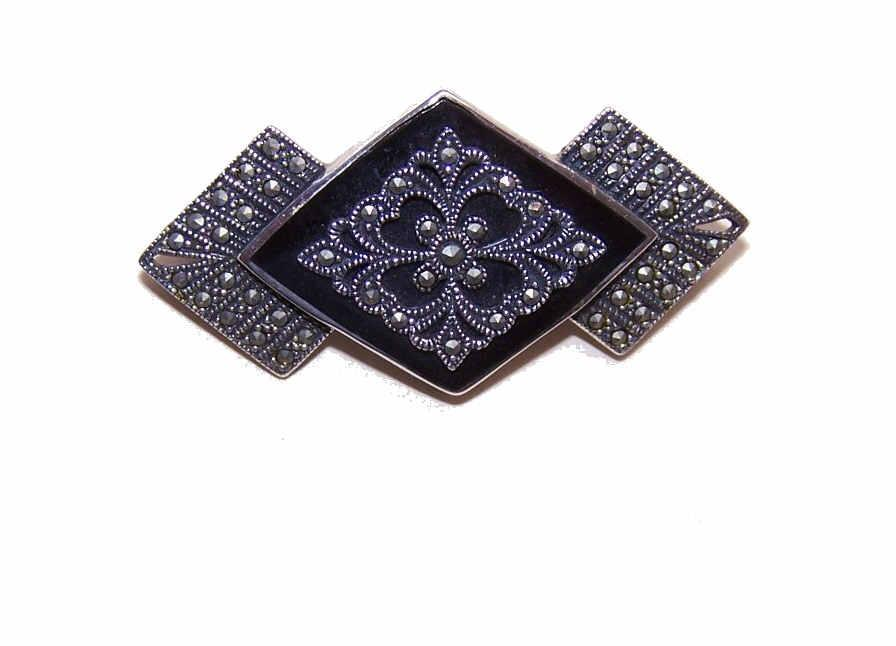 Vintage STERLING SILVER, Black Onyx & Marcasite Pin/Brooch!