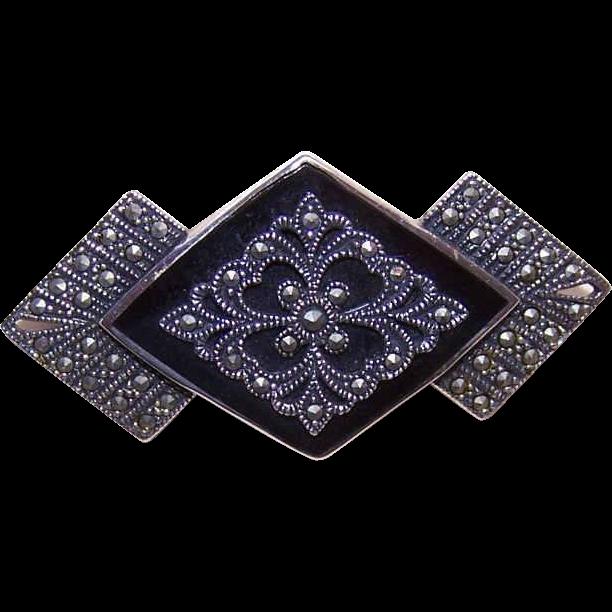 Vintage STERLING SILVER, Black Onyx & Marcasite Pin/Brooch!