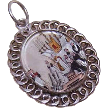 ANTIQUE VICTORIAN French Silver & Mother of Pearl  Medal or Charm for First Communion!