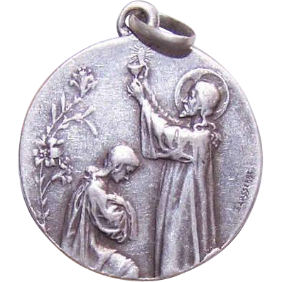 Dated 1904 FRENCH 800/900 Silver First Communion Medal - Young Girl!