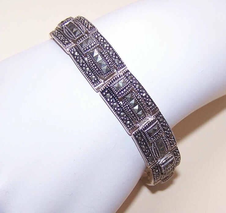 Vintage STERLING SILVER & Marcasite Link Bracelet!