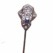 Wonderful ART DECO 18K Gold, Sapphire & Diamond Stick Pin!