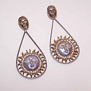 Sergio Bustamante, Mexico STERLING SILVER & Vermeil Drop Earrings - Sun Faces!
