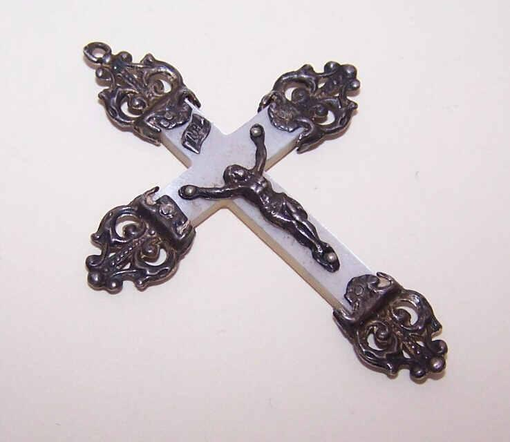 ANTIQUE VICTORIAN French 800/900 Silver & Mother of Pearl Crucifix/Cross Pendant!