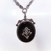 Vintage STERLING SILVER, Black Onyx & Marcasite Pendant Necklace!