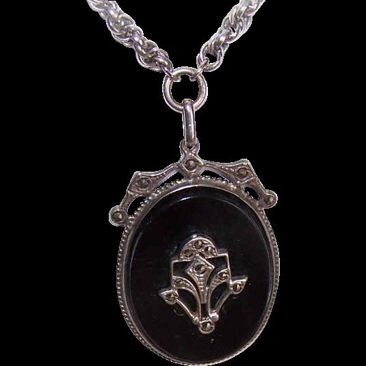 Vintage STERLING SILVER, Black Onyx & Marcasite Pendant Necklace!