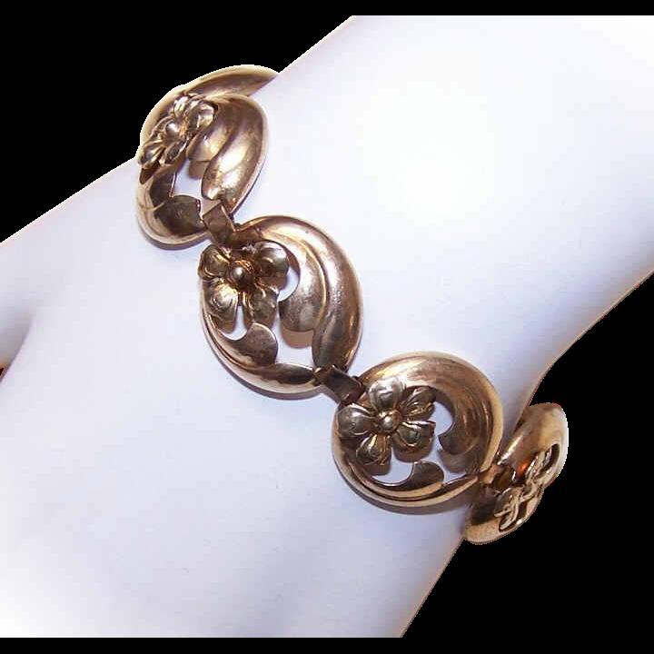 Vintage STERLING SILVER Vermeil Link Bracelet!