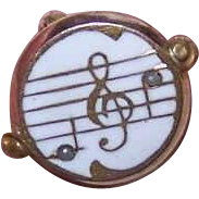 Vintage GOLD TONE Metal, Enamel & Glass Pearl Pin/Brooch - Musical Notes!