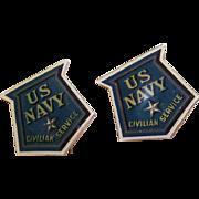 Pair World War II Celluloid US NAVY Civilian Service Pins!