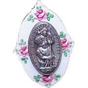 Vintage RELIGIOUS Silver Metal & Enamel Car Medal - Saint Christopher!