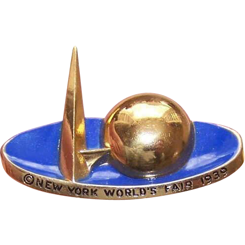 C.1939 New York World's Fair Gold Tone Metal & Enamel Pin/Brooch!
