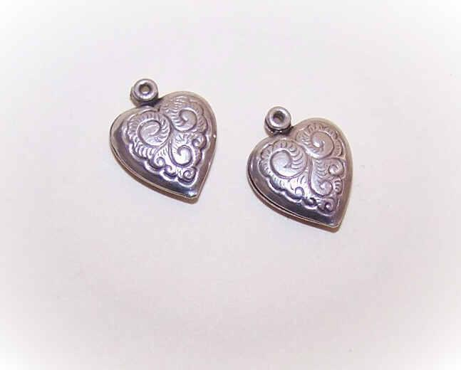 Pair VINTAGE Sterling Silver Puffy Heart Charms - Small with Lots of Curlicues!