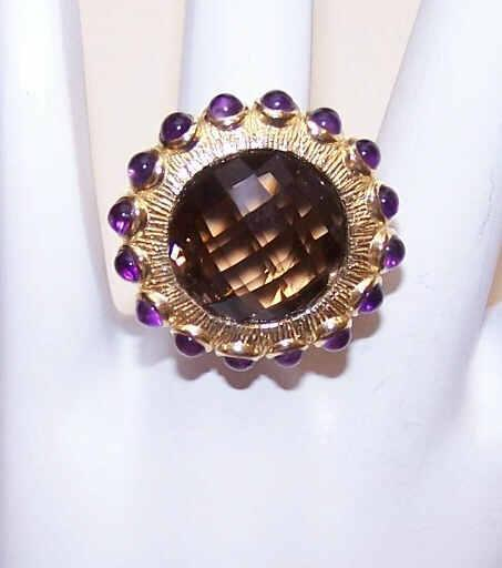 Vintage STERLING SILVER Vermeil, Smoky Quartz & Amethyst Fashion Ring!