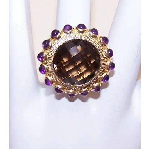 Vintage STERLING SILVER Vermeil, Smoky Quartz & Amethyst Fashion Ring!