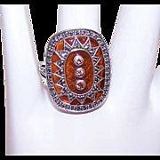 Vintage STERLING SILVER, Marcasite, Brown Citrine & Plique a Jour Fashion Ring!