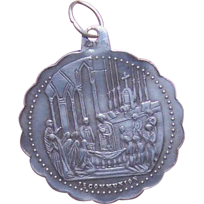 Dated 1882 FRENCH SILVER First Communion Medal or Pendant!