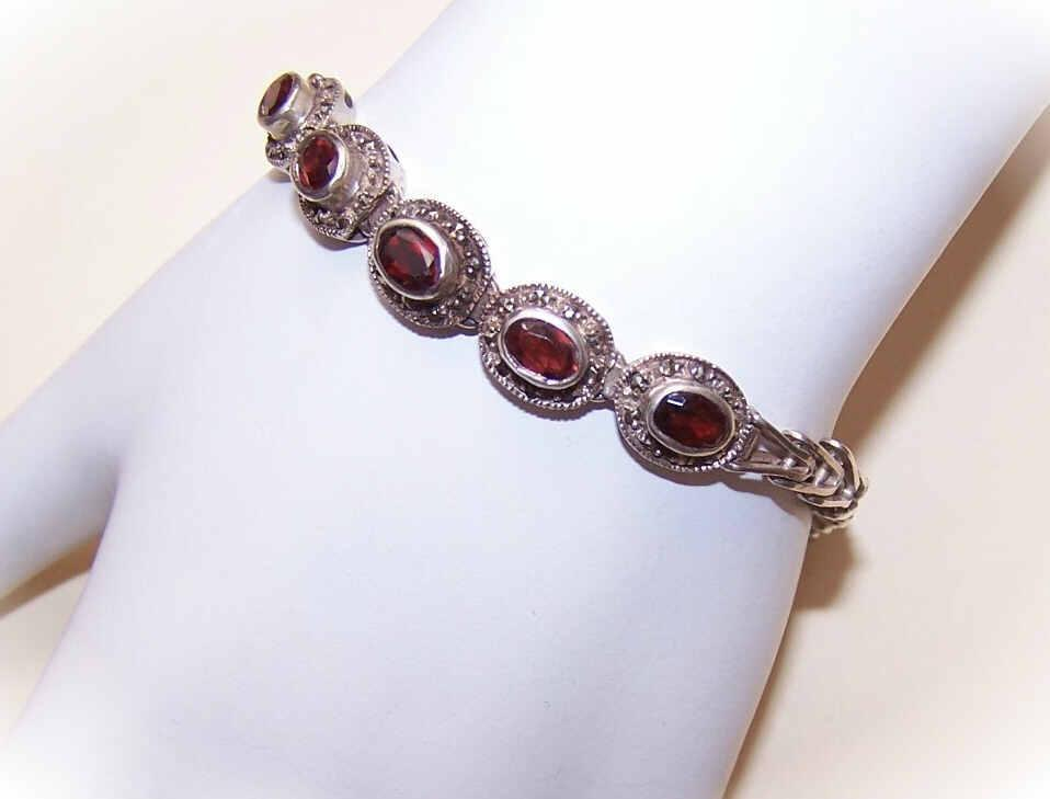 Vintage STERLING SILVER, Garnet & Marcasite Bracelet!