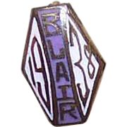 Dated 1938 Gold Tone Metal & Enamel School Pin for BLAIR!