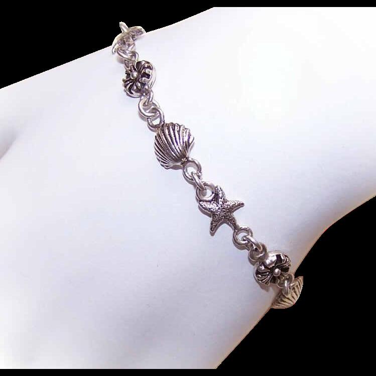 Delicate VINTAGE Sterling Silver Link Bracelet - Beach Motif!