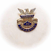 Vintage GOLD FILLED & Enamel Treasury Pin - 30 Years of Service!