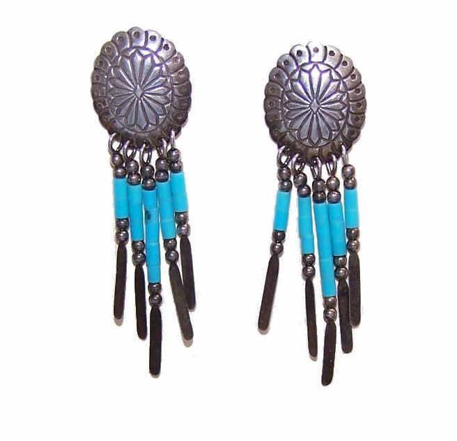 Vintage SOUTHWESTERN Sterling Silver & Turquoise Heishe Drop Earrings!