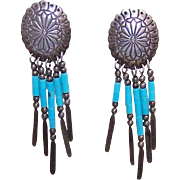 Vintage SOUTHWESTERN Sterling Silver & Turquoise Heishe Drop Earrings!