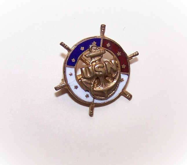 "Vintage Gold Tone Metal & Enamel ""Ship's Wheel"" Pin for the US NAVY!"