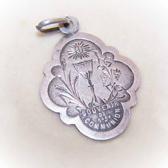 C.1885 FRENCH 800/900 Silver Religious First Communion Medal/Pendant!
