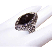 Vintage STERLING SILVER, Black Onyx & Marcasite Fashion Ring!